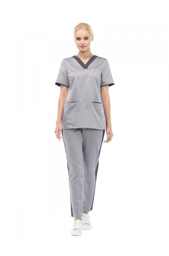 Костюм медицинский женский LE 6102 Грей (серый, сатин)