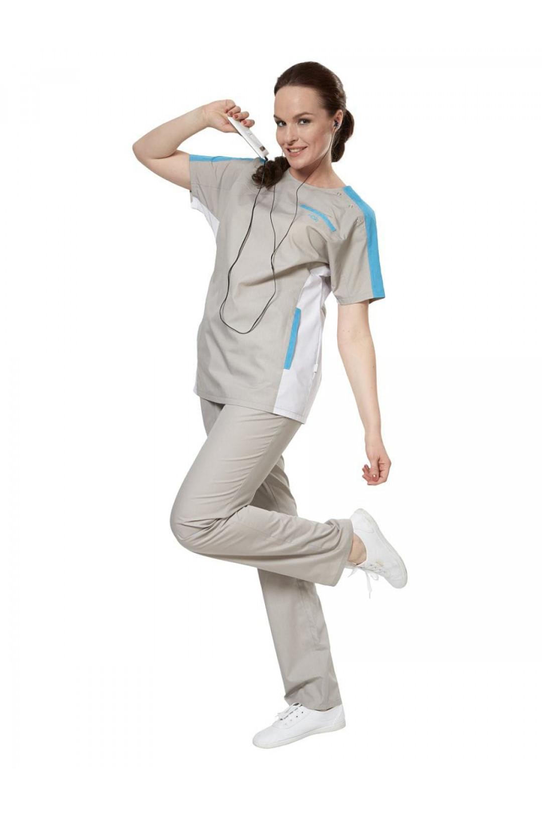 Костюм медицинский женский Аура Спорт (серый/голубой, тиси)