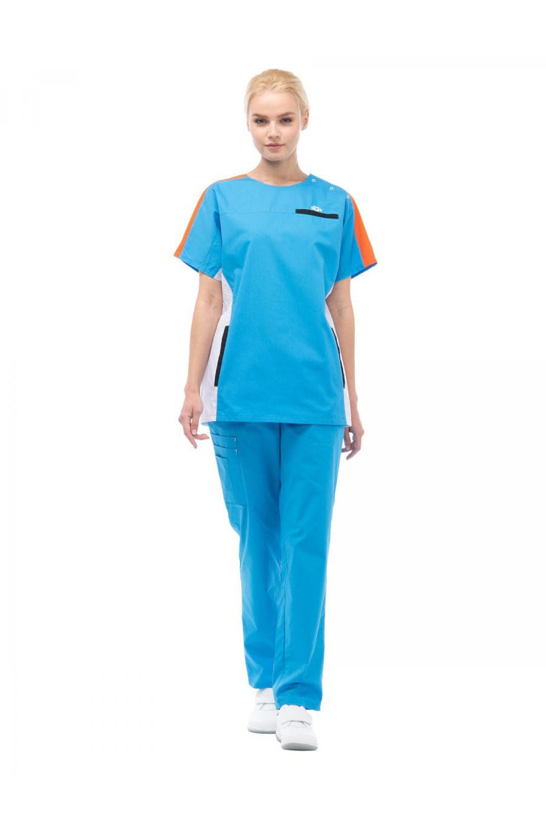 Костюм медицинский женский Аура Спорт (голубой/оранж, тиси)